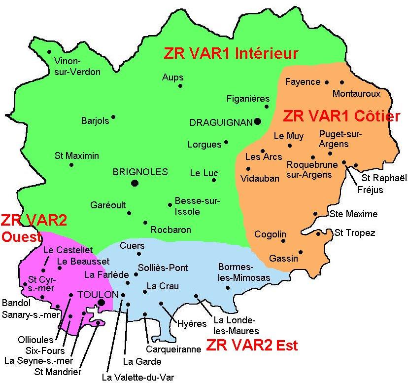 Carte du département du Var - SNES-FSU Académie de Nice
